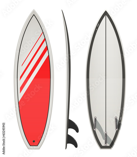 Surfing board. Eps10 vector illustration. Isolated on white