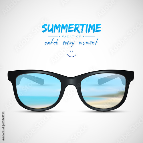 Summer sunglasses with beach reflection