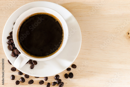 Coffee cup and coffee beans background