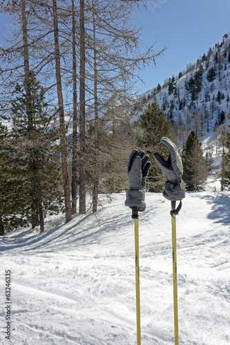 ski slope with sticks and gloves