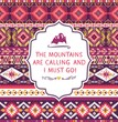 Navajo seamless colorful  tribal pattern with quotes on labels