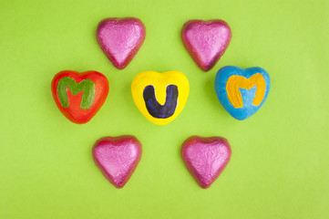 Mother's Day hearts and chocolates.