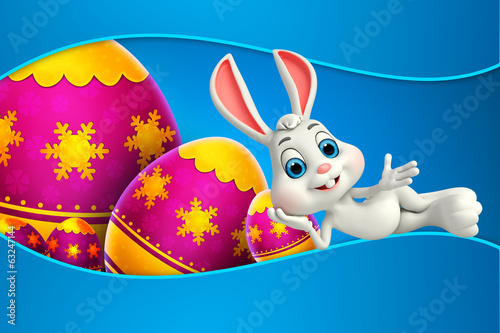 canvas print picture cute easter bunny with colorfull eggs
