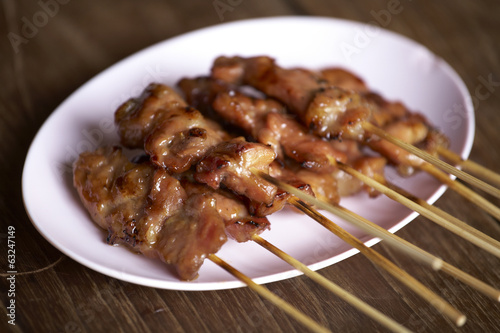 pork grill and sweet sauce in thai food