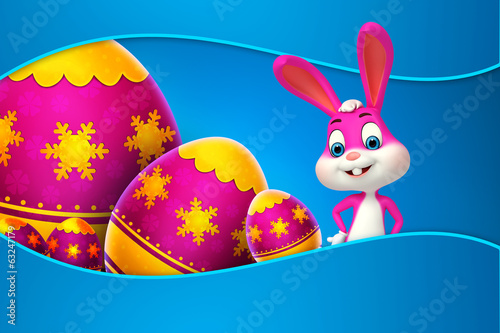 cute easter bunny colorfull eggs