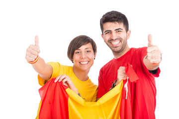 Spain Supporters on White Background