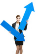 Business woman holding blue arrows
