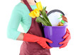 Housewife holding bucket with cleaning equipment. Conceptual