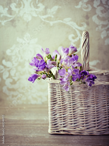 Purple Freesia Flowers in a  Basket