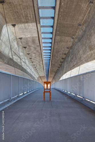 Abandoned chair under the highway bridge - HDR Image