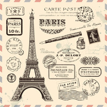 Paris postage design elements