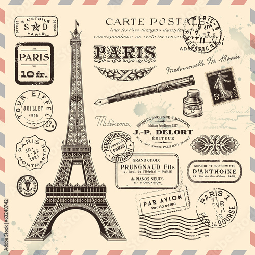 Aluminium Parijs Paris postage design elements