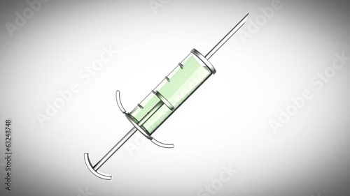 loop Glass syringe on gray backgrou