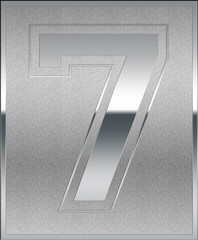 Silver Casted Number 7 Position, Place Sign