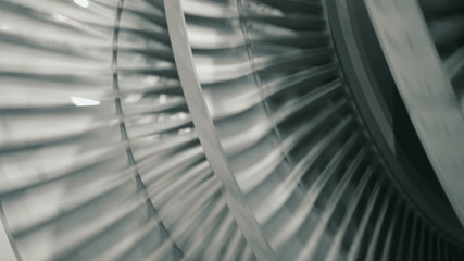Close up of rotating steam turbine blades