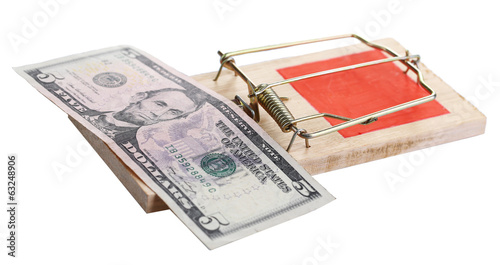 Mousetrap with dollar isolated on white