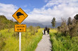 Caution kiwi panel on a trail - New Zealand - 63249379