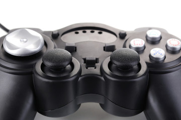 Black game controller isolated on white