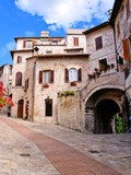 Picturesque stone houses of the Italian town of Assisi