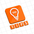tips and bulb symbol, flat design web icon