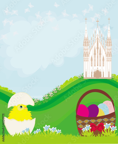 Easter landscape with eggs, flowers, butterflies and church