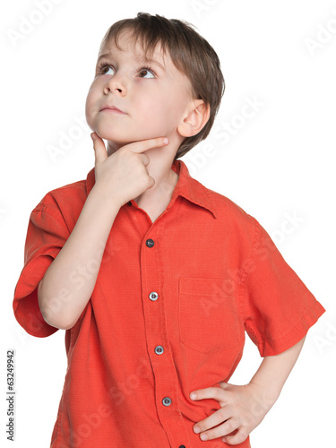 Thoughtful little boy in a red shirt