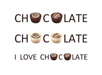 Шоколад. Надписи для дизайна