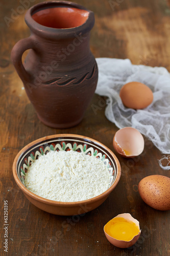 Baking ingredients: eggs, milk, flour