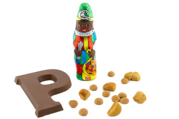 chocolate zwarte Piet figure and pepernoten