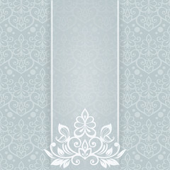 Elegant  card with butterfly and floral seamless background