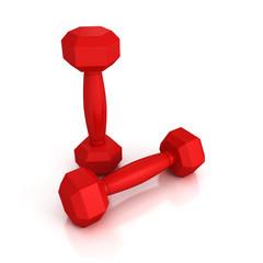 Two red light weight dumbbells on white background