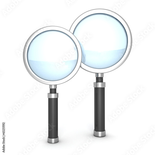 two magnifier glasses on white background