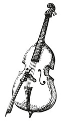Vector drawing Double Bass with a bow