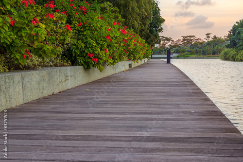 Sunset With Old Wooden Bridge