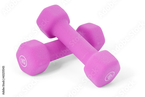 Pink dumbbells (clipping path)