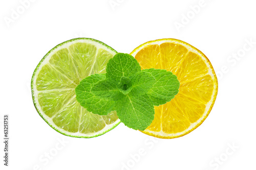 Lemon and lime slices and mint herb isolated on white