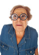 Elderly woman with surprised expression