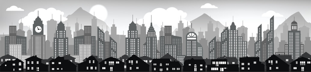Cityscape background (black & white)