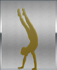 Gold on Silver Gymnastics Sport Emblem