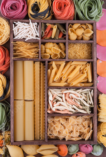 Large set of various Italian pasta and multicolor