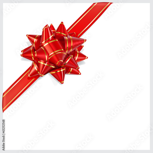 Bow of red ribbon with gold stripes. Located diagonally