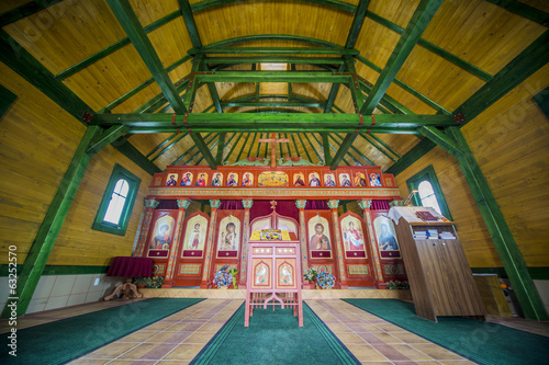 Interior of the orthodox wooden church