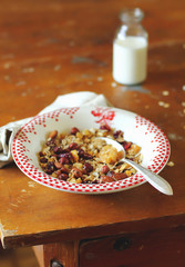Healthy homemade granola or muesli with rolled oats