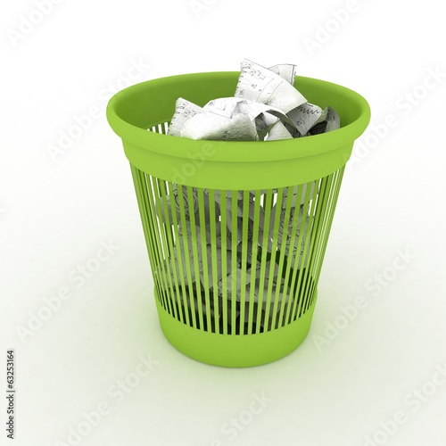 Basket for garbage. 3d illustration on white background