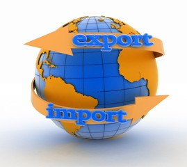 Import and export arrow around earth for business.