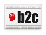 Business concept: newspaper with B2c and Head With Finance poster
