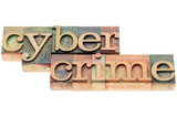 cybercrime word in wood type poster