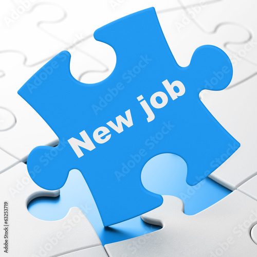 Finance concept: New Job on puzzle background