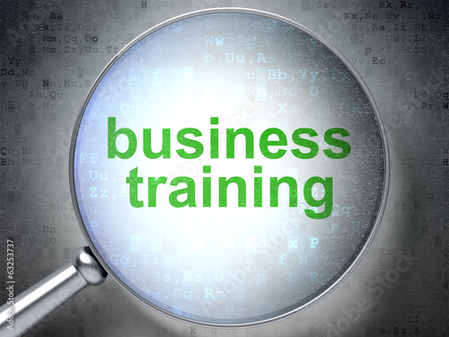 Education concept: Business Training with optical glass