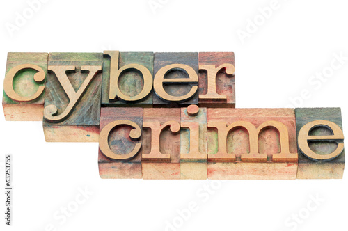 cybercrime word in wood type